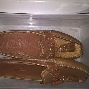 tan and brown loafer style shoe